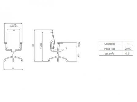 Silla de Oficina Atika Dile Office Malla Diagrama