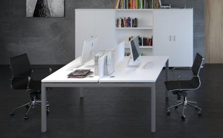 Silla de oficina giratoria elevable de malla modelo Berlín color blanco