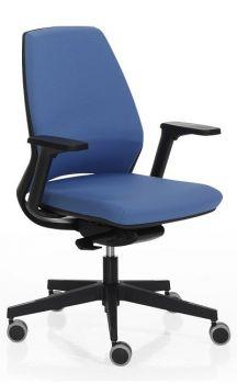 Silla de oficina 4U azul en carcasa negras, elevable y ergonómica