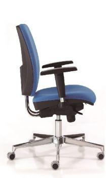 Silla de Oficina Signo+ ergonómica, giratoria, con brazos color azul lateral