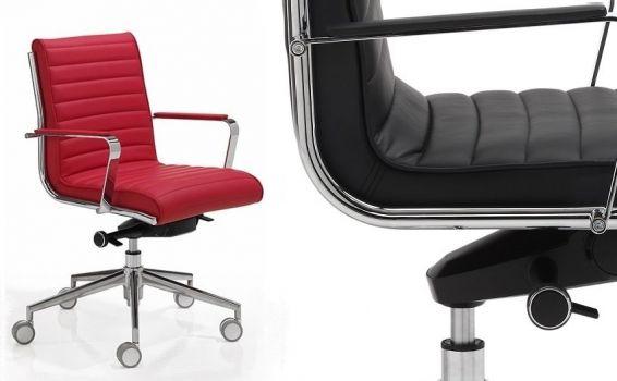 Silla de oficina en piel, tapizada en negro y rojo