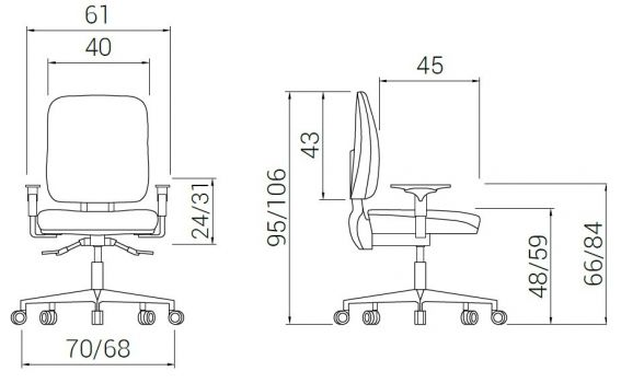 Silla  Ergonómica de Oficina Giratoria Signo+ 2 esquema
