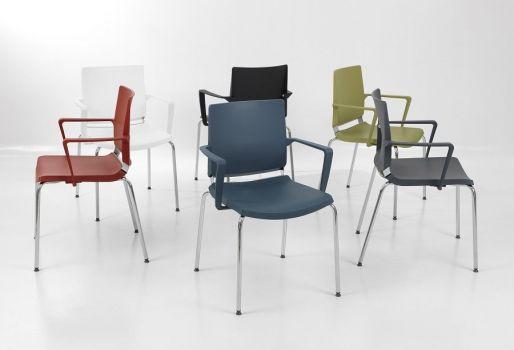 Silla Atenea polivalente apilable de diseño ergonómico,  colores varios. Dile Office