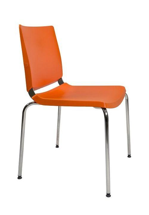 Silla Atenea  polivalente apilable Atenea de diseño ergonómico,  color naranja. Dile Office