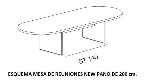 ESQUEMA MESA DE REUNIONES NEW PANO DE 200 CM.