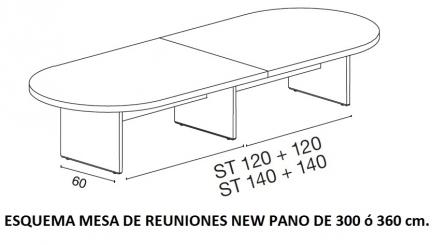 ESQUEMA MESA DE REUNIONES NEW PANO DE 300 ó 360 cm.