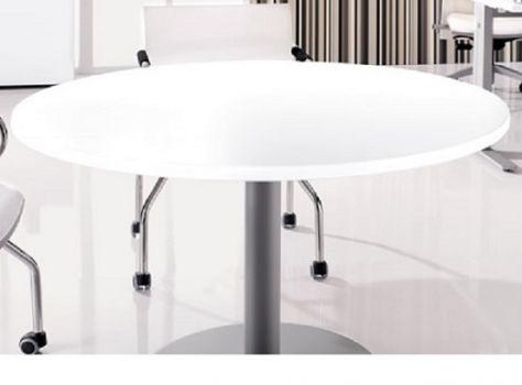 Mesa de reuniones blanca redonda New Pano con pata de acero