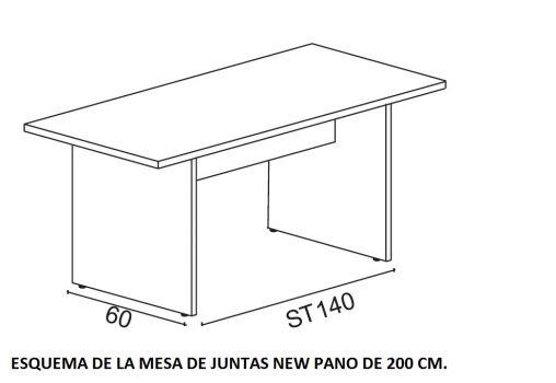 Esquema Mesa recta New Pano de 200 cm.