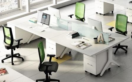 Mesa de oficina de varias plazas con encimera grande de 160 cm. Linea Maya de Ismobel.