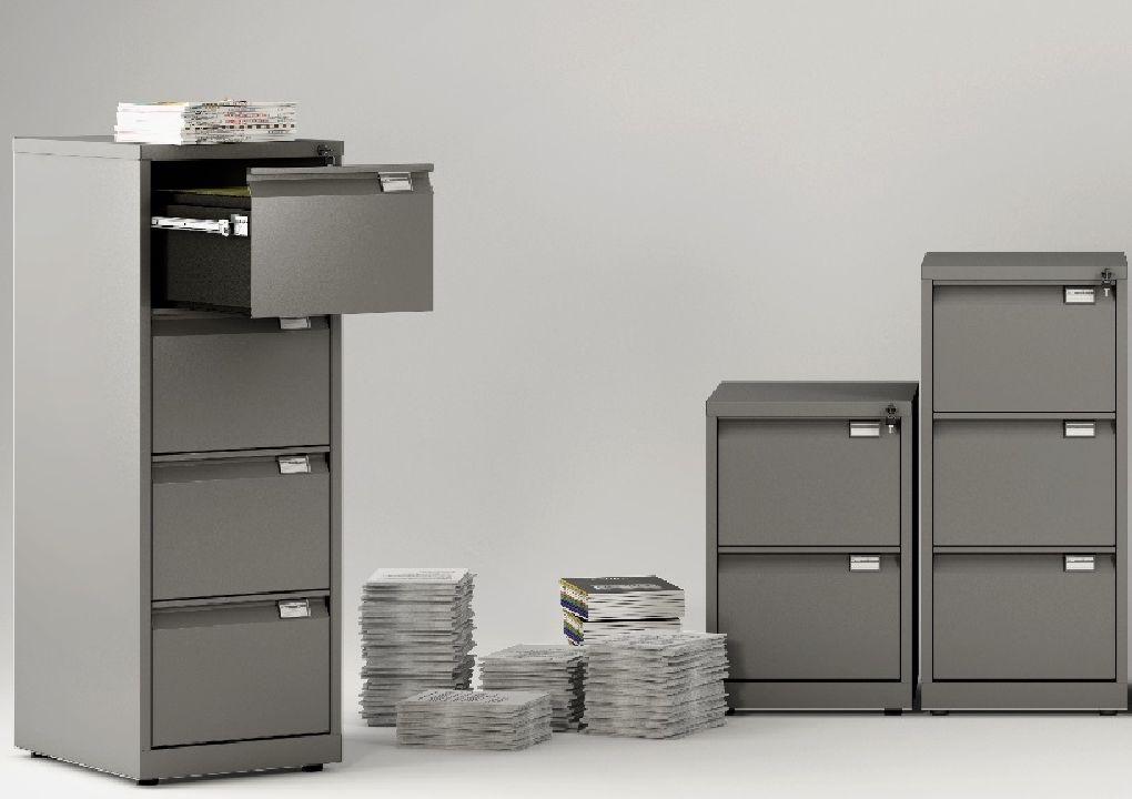 Archivadores metálicos de 2, 3 y 4 cajones para archivar carpetas colgantes