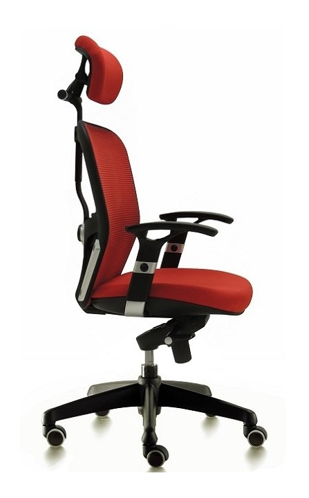 Silla de oficina para dirección respaldo de malla modelo Boston color ROJO