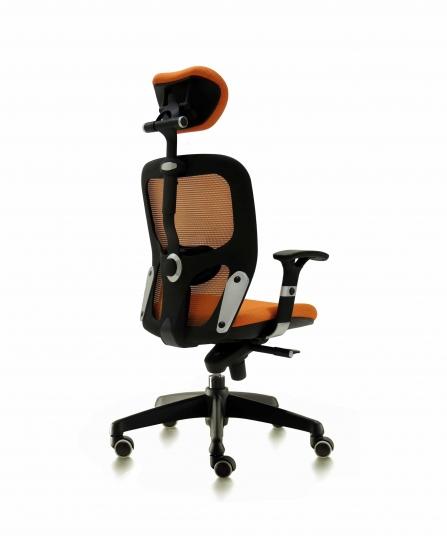 Silla de oficina para dirección respaldo de malla modelo Boston color naranja posterior