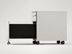 Cajonera de metal, con un cajón, un cajón de archivo y uno portalápices. Lateral