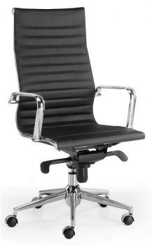 Silla de dirección alta de piel negra modelo Londres Star de inspiración silla Eames
