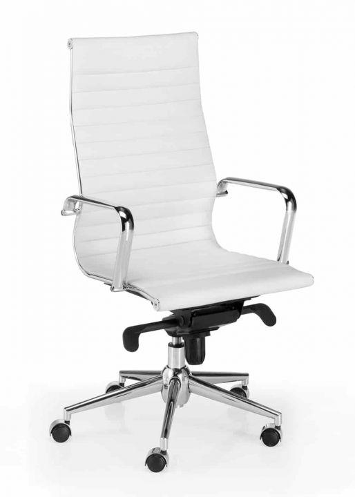 Silla de dirección alta de piel blanca modelo Londres Star de inspiración silla Eames