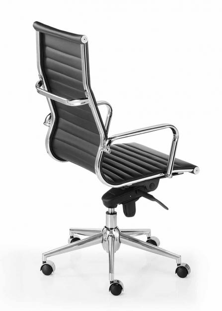 Silla de dirección alta de piel negra modelo Londres Star de inspiración silla Eames posterior