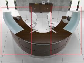 Mostrador de recepción curvo de 26 grados encimera de cristal vista desde arriba
