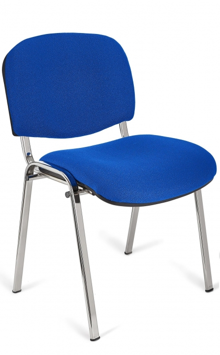 Silla de auditorio Iso color azul estructura cromada