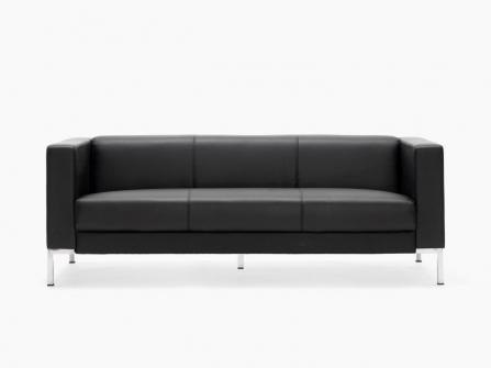 SOfá de oficina color negro de 3 plazas modelo Cairo de Euromof.