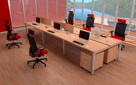 Mesa de Oficina Bench de 6 plazas modelo Pórtico