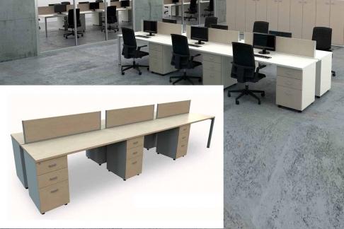Mesa de Oficina Bench de 6 plazas con cajonera Pedestal