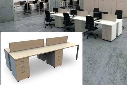 Mesa de Oficina Bench de 4 plazas con cajonera Pedestal