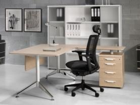 Mesa de Oficina, con ala y cajonera vista de perfil modelo Sharp. Herpesa
