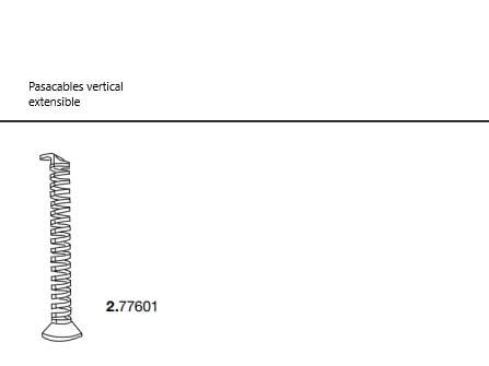 Pasacables vertical extensible para mesa LOG IN. Officinca