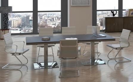 Mesa de reuniones rectangular Colina con pata metálica