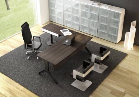 Mesa de oficina con ala y cajonera horizontal modelo Maya Izquierda