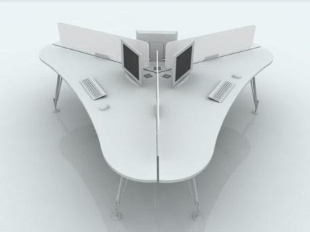Mesa para oficina isla Heos de 3 puestos
