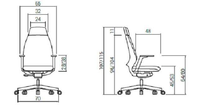 Silla Direccional 4U Giratoria Alta Diagrama