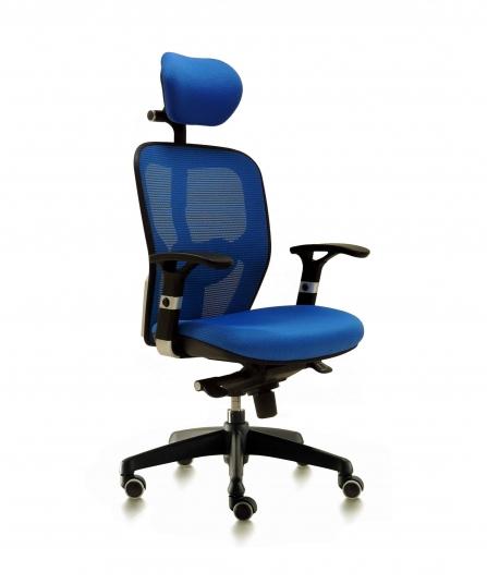 Silla de oficina para dirección respaldo de malla modelo Boston color azul