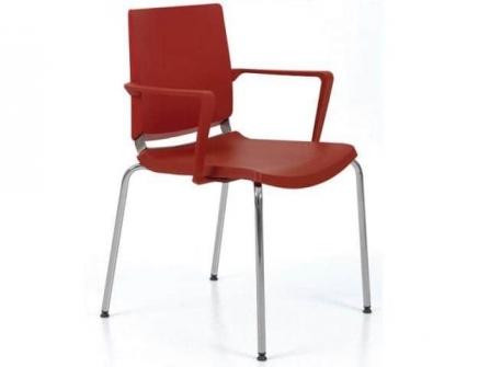 Silla polivalente apilable de diseño ergonómico,  color rojo con reposabrazos.  Dile Office