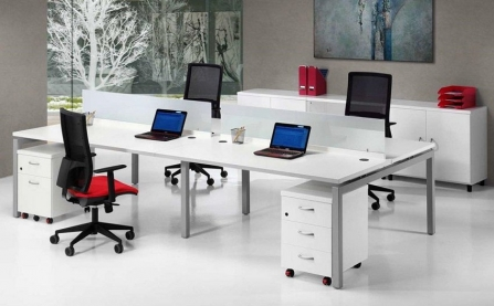 Mesa bench workstation con ala Euro 5000 de Euromof 4 plazas
