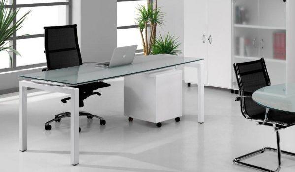 Mesa recta escritorio Euro de Euromof 5000 encimera de cristal