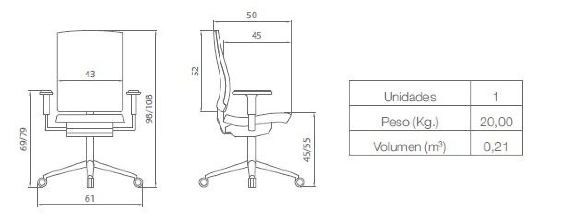 Silla Flexa de Oficina Alta Diagrama
