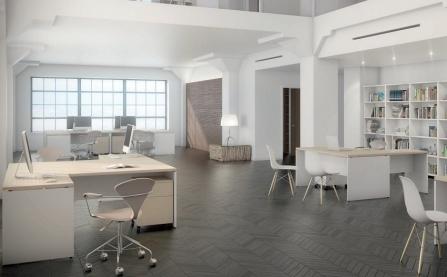 Mesa de oficina de melamina New Pano de Ofitres de Grupo Alvic con ala conjunto de oficinas
