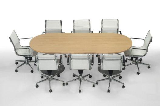 Mesa de reuniones Euro ovalada con pata metálica para 8 personas.